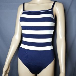 Ralph Lauren blue and white striped swimsuit